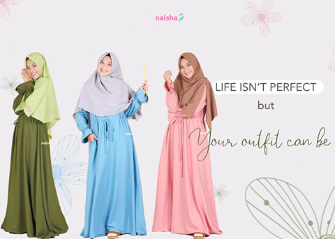 5 Ide Mix and Match Gamis Syari yang Simple dan Stylish (2)