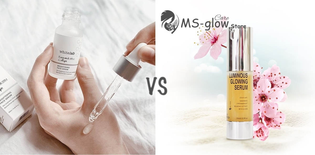 Whitelab Brightening Face Serum VS MS GLOW Luminous Serum