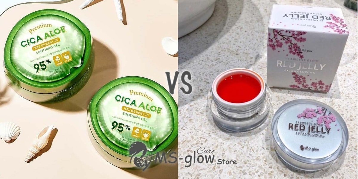 Missha Premium Cica Aloe Soothing Gel VS MS Glow Flawless Red Jelly
