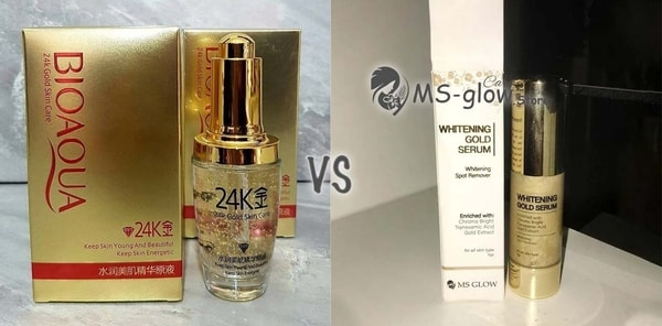 BIOAQUA SERUM 24 Karat Gold VS MS GLOW Whitening Gold 24K Serum